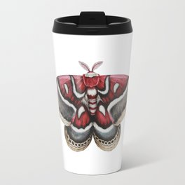 Moth - HYALOPHORA GLOVERI - Glover's silk moth | Painting | Watercolour | Insect Travel Mug