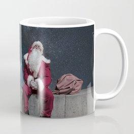 Santa Claus with sack. Magic Christmas Lights. Coffee Mug