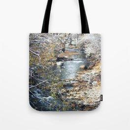 A Creek on a Snowy Day in Boulder, Colorado II Tote Bag