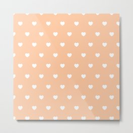 HEARTS ((white on melon)) Metal Print