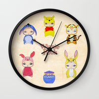 tigger Wall Clocks featuring A Boy - Winnie and friends by Christophe Chiozzi