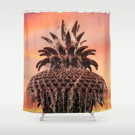 Pineapple Fountain Pink Shower Curtain