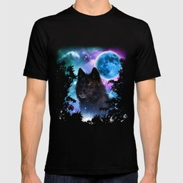 Black Wolf MidNight Forest T-shirt