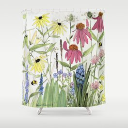 Flowers on White Painting Shower Curtain