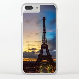 Night to Day over Eiffel tower - Paris Clear iPhone Case