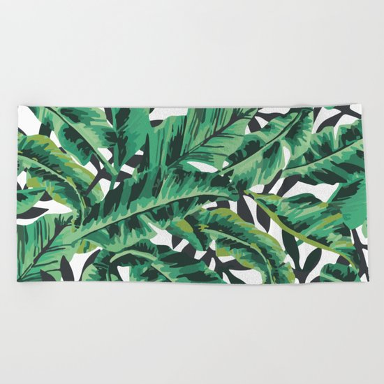 Tropical Glam Banana Leaf Print Beach Towel