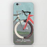 tour de france iPhone & iPod Skins featuring Tour De France Bicycle by Wyatt Design