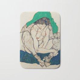 "Egon Schiele ""Crouching Woman with Green Headscarf"" Bath Mat"