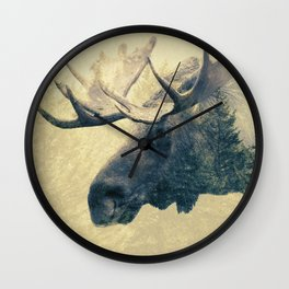Moose - Double Exposure Wall Clock