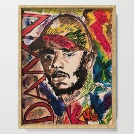 Damn,rapper,goat,poster,shirt,hiphop,wall art,decor,mascline,portrait,lyrics,rap Serving Tray
