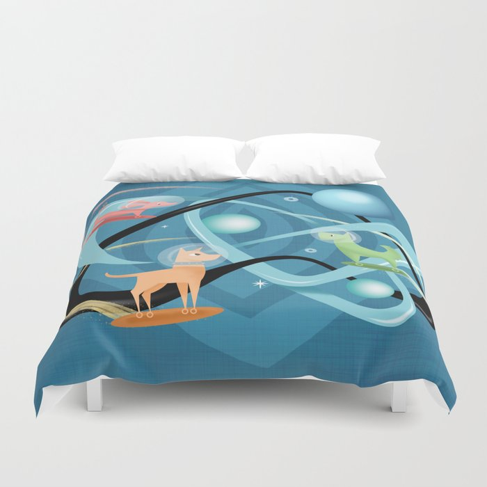 Atomic Rocket Powered Space Dogs Duvet Cover
