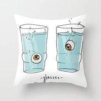 glasses Throw Pillows featuring Glasses by Abel Fdez