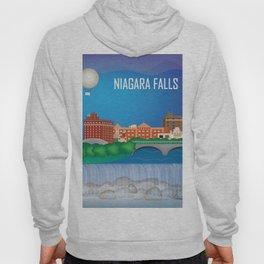 Niagara Falls, New York - Skyline Illustration by Loose Petals Hoody