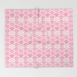 Pink Heart Valentine's Doilies Pattern Throw Blanket