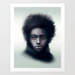 Black man with scarf - digital portrait Art Print