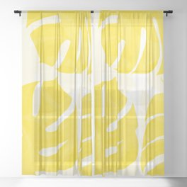 Mellow Yellow Monstera Leaves White Background #decor #society6 #buyart Sheer Curtain