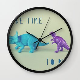 Make Time to Play - Blue and Purple Dino on Green Wall Clock