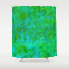 Fresh Green and Turquoise Lagoon Abstract Shower Curtain