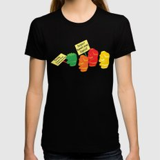 Stop Gummibear Cruelty! LARGE Womens Fitted Tee Black