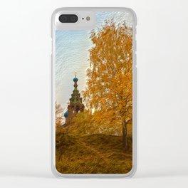 Village Church golden autumn Clear iPhone Case