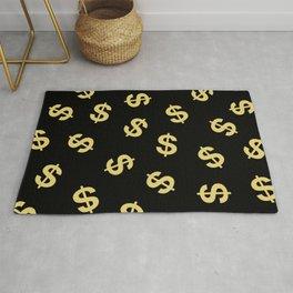 Dollar Signs Black & Gold Rug