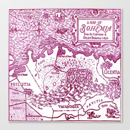 Map of Bohemia (pink) Canvas Print