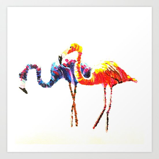 Flamingos after a Colour Run Art Print