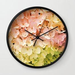 Delicate Pastel Multicolor Hydrangea Wall Clock