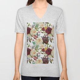 Burgundy brown green teal watercolor botanical floral Unisex V-Neck
