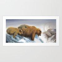 bears Art Prints featuring bears by Alessandra Razzi Illustrazioni