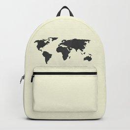 The Classic World Map - Chalkboard Black on Cream Linen Backpack