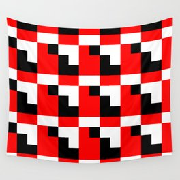 Red black step pattern Wall Tapestry