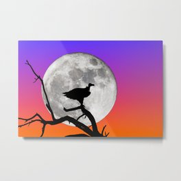 Vulture with Supermoon Metal Print