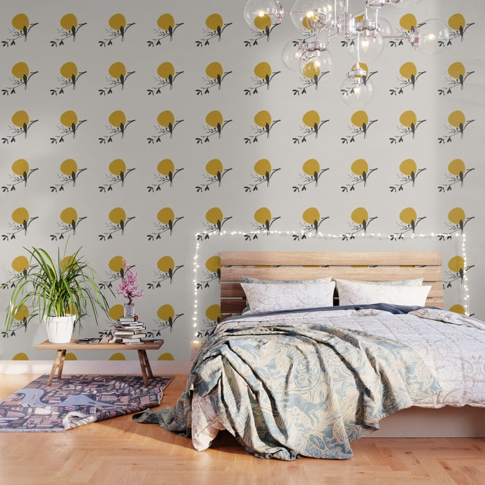 Bird and the Setting Sun Wallpaper