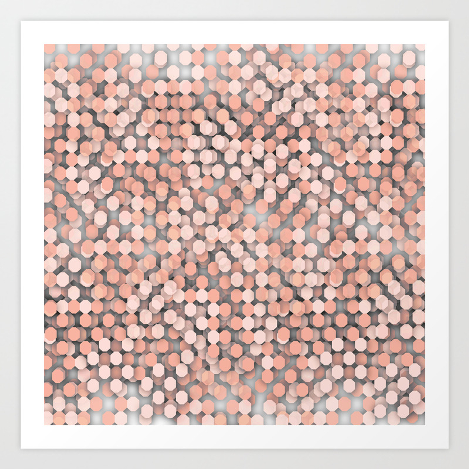 hexagonal peach color background art print by dominiquelandau society6 society6