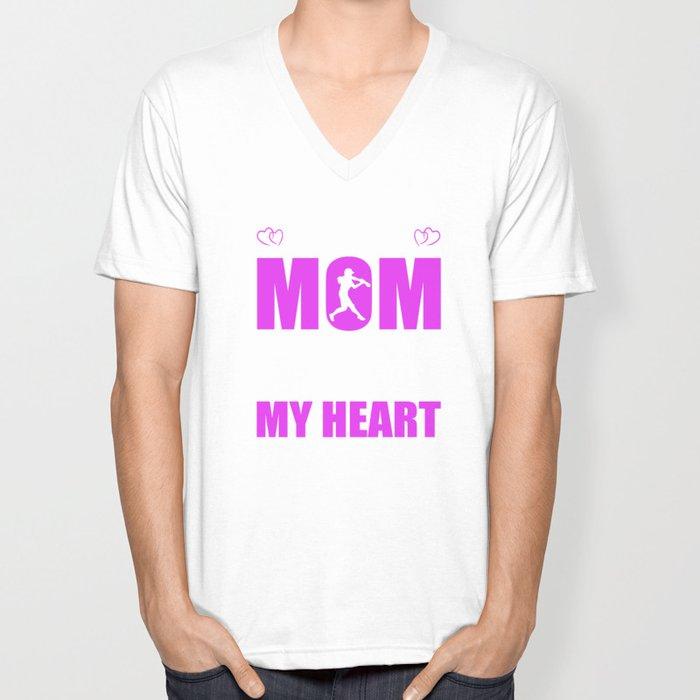Softball Moms Full Heart Mothers Day T Shirt Unisex V Neck By