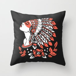 Indian cute lady, Hand drawn illustration of apache indian girl Throw Pillow