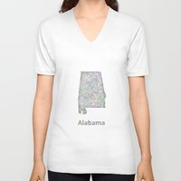 alabama V-neck T-shirts featuring Alabama map by David Zydd