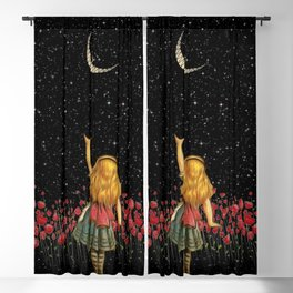 Wonderland Smiling Starry Night - Alice In Wonderland Blackout Curtain