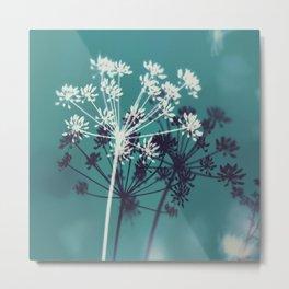 Twilight Stars. Botanical Macro Abstract in Blue. Metal Print