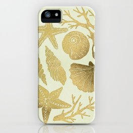 Gold Seashells iPhone Case