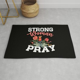 Strong Woman Pray Religious God Jesus Flowers Christianity Rug