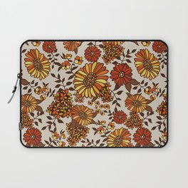 Retro 70s boho hippie orange flower power Laptop Sleeve