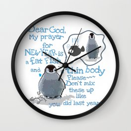Baby penguins Funny New Year's resolution Wall Clock