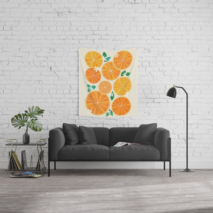 Orange Slices With Blossoms Wall Tapestry