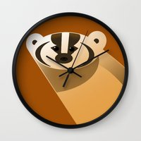 badger Wall Clocks featuring badger by Thomas
