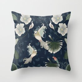 Birds and plants Throw Pillow