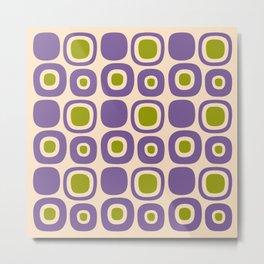 Mid Century Modern Garden Path Pattern 339 Purple and Olive Green Metal Print