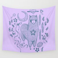cookie Wall Tapestries featuring Alpaca Cookie by Brettisagirl