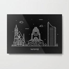 Leipzig Minimal Nightscape / Skyline Drawing Metal Print